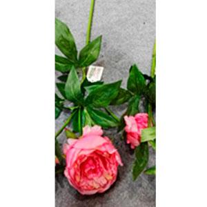 Vara de flor rosa con hojas