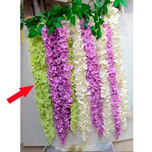 Vara de flores verdes con caida
