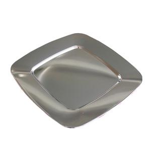Plato de presentación de acero niquelado cuadrado de 31.5x31.5cm
