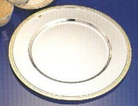 Plato de presentación de acero con orilla dorada de 31cm