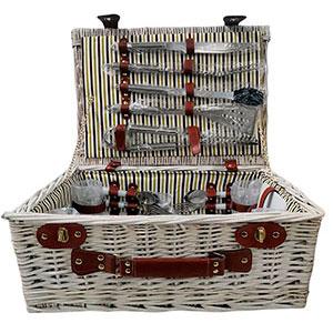 Canasta/picnic p/4 de rattan con vajilla, cubiertos y accesorios de madera de 46x35x20cm