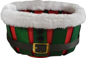 Canasta de madera en color rojo y verde de 28x22x18cm
