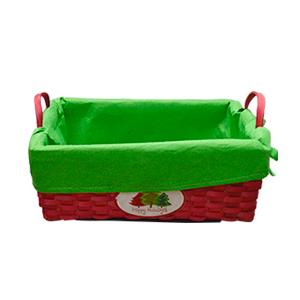 Canasta roja con tela verde y estampado de pinos chica de28x17x10cm