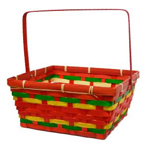 Canasta rectangular roja con asa y lines verdes y doradas de  23x23x10x24cm