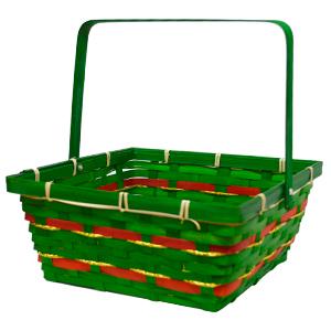 Canasta rectangular verde con asa y lines rojas y doradas de  23x23x10x24cm