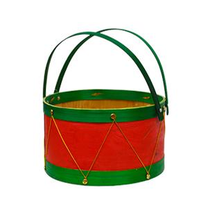 Canasta chica redonda roja con verde diseño tambor de 17x11.5x21cm