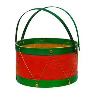 Canasta mediana redonda roja con verde diseño tambor de 21x12.5x22cm