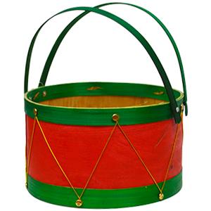 Canasta grande redonda roja con verde diseño tambor de 25x13.5x25cm