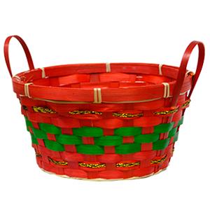 Canasta redonda roja con linea verde y asas doradas de 22x11x16cm