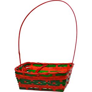 Canasta rectangular verde con asa y linea roja de 23x18.5x36cm