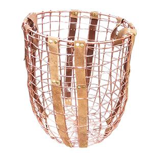 Canasta calada de alambron color cobre de 38x44x29cm