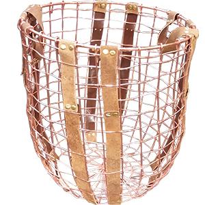 Canasta calada de alambron color cobre de 44x51x34cm