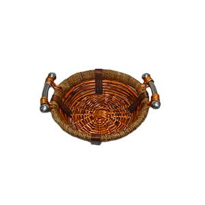 Canasta redonda de ratán con asas de metal de 29x9cm
