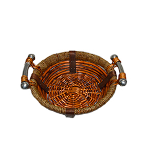 Canasta redonda de ratán con asas de metal de 37x12cm