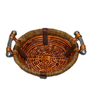 Canasta redonda de ratán con asas de metal de 45x14cm