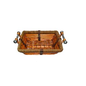 Canasta rectangular de ratán con asas de metal de 30x23x10cm