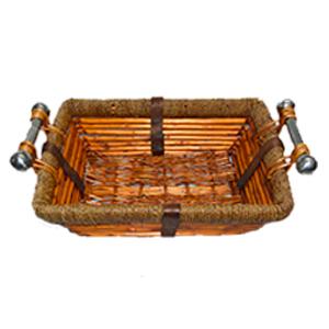 Canasta rectangular de ratán con asas de metal de 49x38x14cm