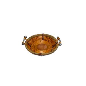 Canasta redonda de madera con ratán y asas de metal de 34x9cm