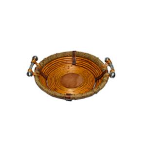 Canasta redonda de madera con ratán y asas de metal de 43x10cm