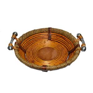 Canasta redonda de madera con ratán y asas de metal de 50x12cm