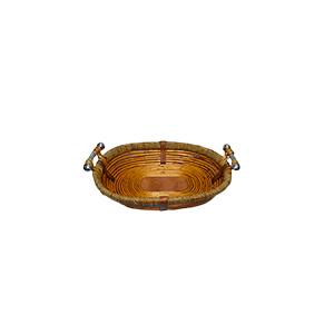 Canasta oval de madera con ratán y asas de metal de 39x30x9cm
