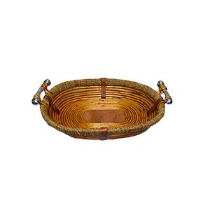 Canasta oval de madera con ratán y asas de metal de 49x38x10cm