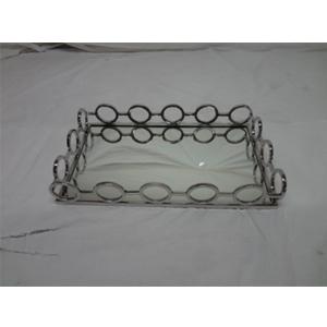 Charola de metal cromada con espejo y orilla diseño círculos de 43x26x8cm