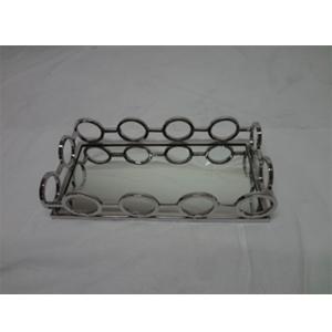 Charola de metal cromada con espejo y orilla diseño círculos de 34.5x17.5x8cm
