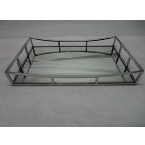 Charola de metal cromada con espejo de 56x36x8cm