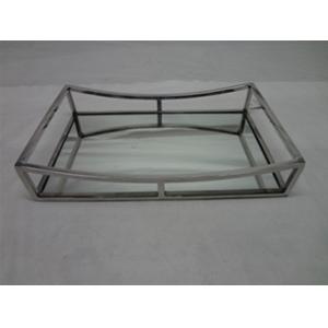 Charola de metal cromada con espejo moderna de 41x26x8cm