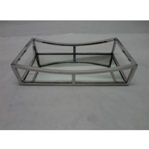 Charola de metal cromada con espejo de 35x20x8cm