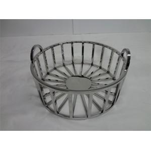 Canasta de metal cromada con asas de 35x35x18cm