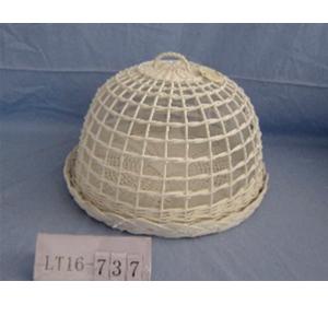 Panera de mimbre redonda con tapa blanca de 41x26cm