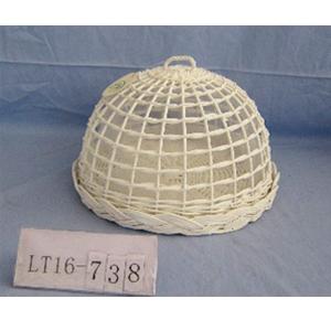 Panera de mimbre redonda con tapa blanca de 36x24cm