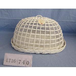 Panera de mimbre oval con tapa blanca de 47x36x27 cm