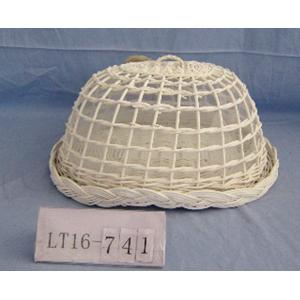 Panera de mimbre oval con tapa blanca de 41x30x25 cm