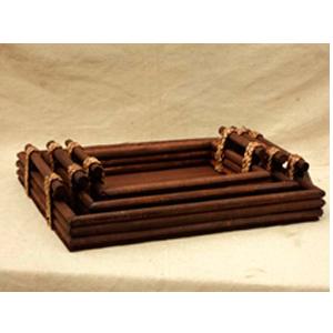 Charola de madera rectangular con asas de 38x13x46cm