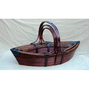 Canasta de madera diseño lancha con asa de 38x37x84cm