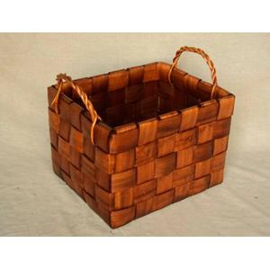 Cesto rectangular de madera tejido de 36x32x23cm