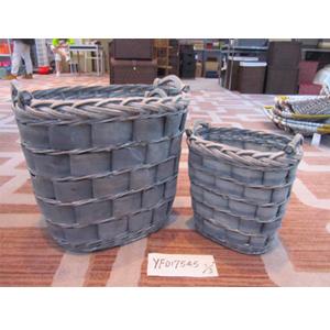 Cesto tejido de madera color gris de 48x36x44cm