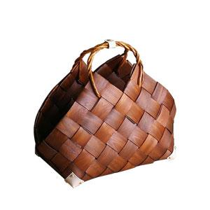 Bolsa tejida café con asas de 49x25x38
