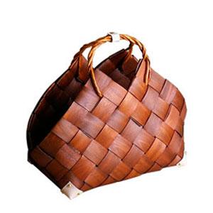 Bolsa tejida café con asas de 61x34x46x42x47cm