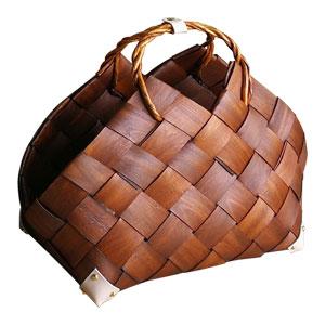Bolsa tejida café con asas de 73x43x54x49x56cm