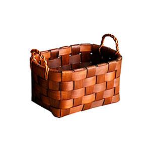 Canasta rectangular tejida natural de 30x22x17x24cm
