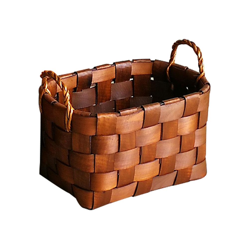 Canasta rectangular tejida natural de 36.5x26.5x22x29.5cm