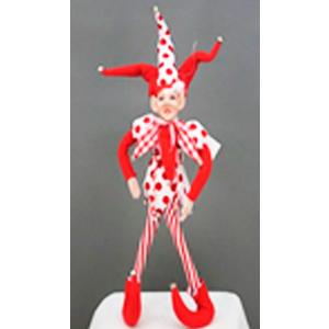 Elfo con traje de arlequin rojo con blanco de 38cm
