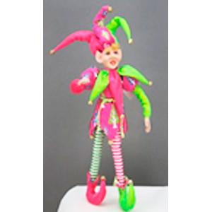 Elfo con traje de arlequin rosa con verde de 38cm
