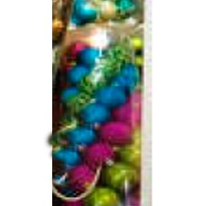 Estuche con 30 esferas y punta para arbol y figuras en azul con rosa