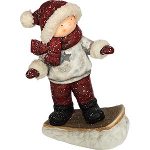 Niñ de resina con pantalón rojo esquiando37.5x22x46cm
