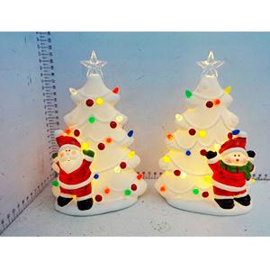 Árbol de ceramica con luces y muñeco de nieve de 14.5x8x21cm